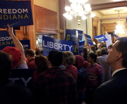 """""""Opposing HJR3 at the Indiana Statehouse"""" - Cell Phone Photo by Marg Herder"""